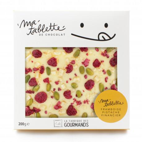 Tablette chocolat blanc - Pistaches Framboises