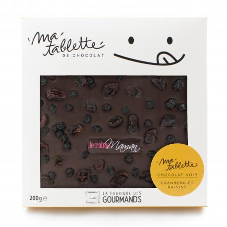 Tablette chocolat noir - Cranberrys & Raisins