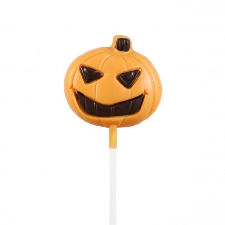 Sucette chocolat Halloween - Citrouille